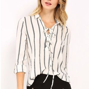 Sweet Wanderer-Striped White Shirt-Size Medium